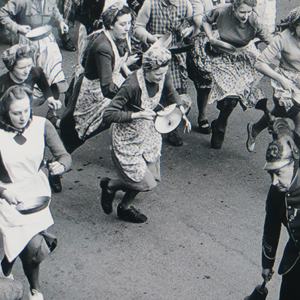 image of famous pancake race at Olney